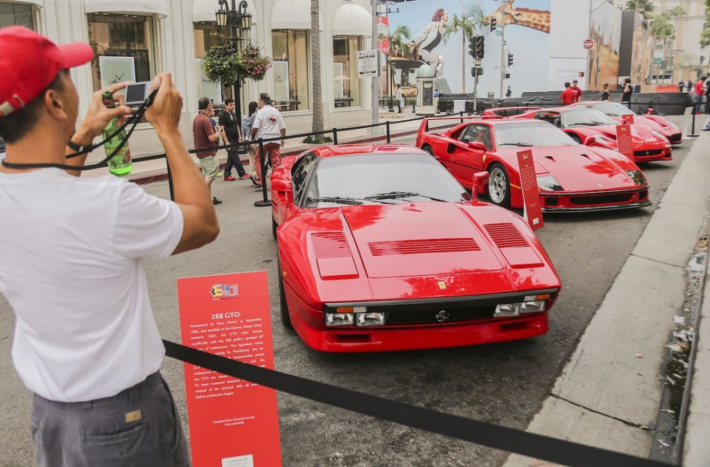 bunch of historic ferrari were rolled out for the event in Beverly hills