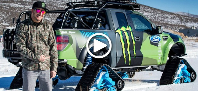 Snowboard Expedition: Ken Block's Flying on top of Mountains with His Ford F-150 RaptorTRAX