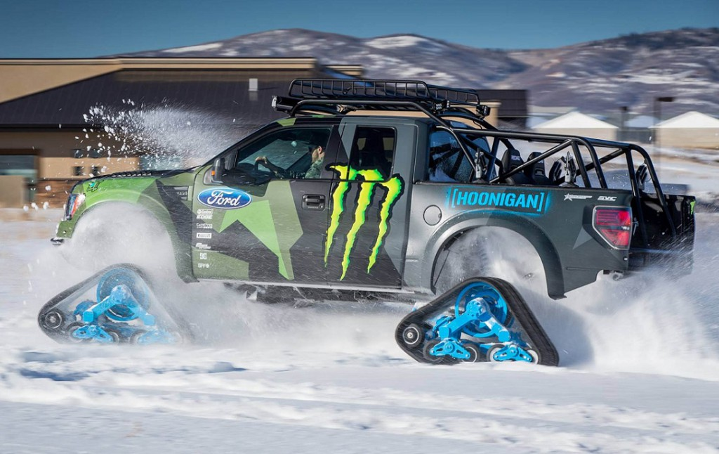 ford f-150 raptortrax in motion with ken block