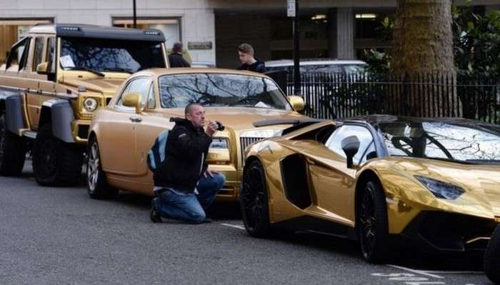 The Gold Supercars Parked in Knightsbridge photo