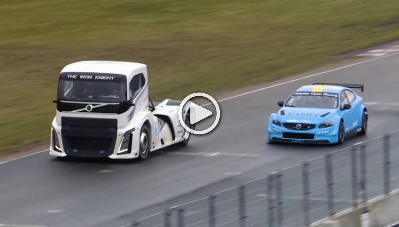 Watch a 2,800-HP Race Between the Record-Breaking Truck The Iron Knight  and Volvo S60 Polestar