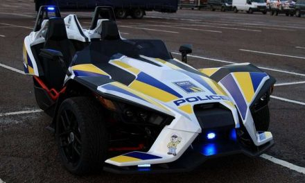 Polaris Slingshot Dressed up in a Police Livery Promotes Road Safety