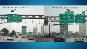 What side of the highway your exit is on