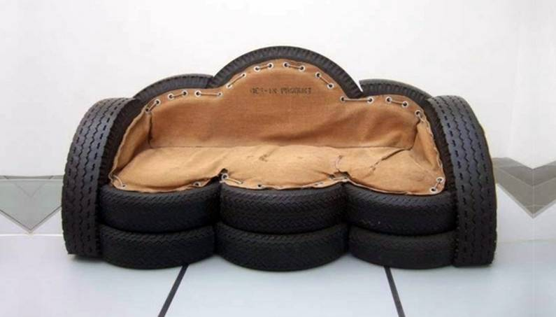 Three-piece suite-things-made-from-car-tyres
