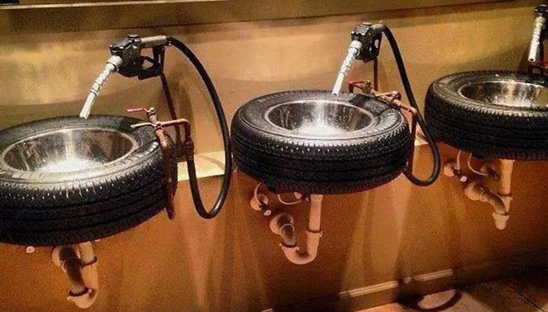 Tire sink for man cave-made-from-car-tyres