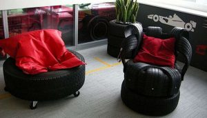 armchair and a stool-made-from-car-tyres