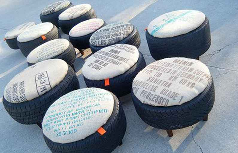 Ottoman for seating-made-from-car-tyres