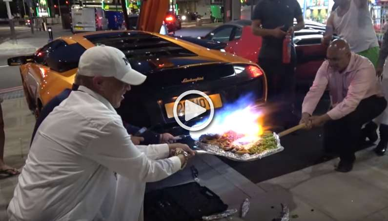 Lamborghini Murcielago cooks Pizza with a Flamethrower Exhaust